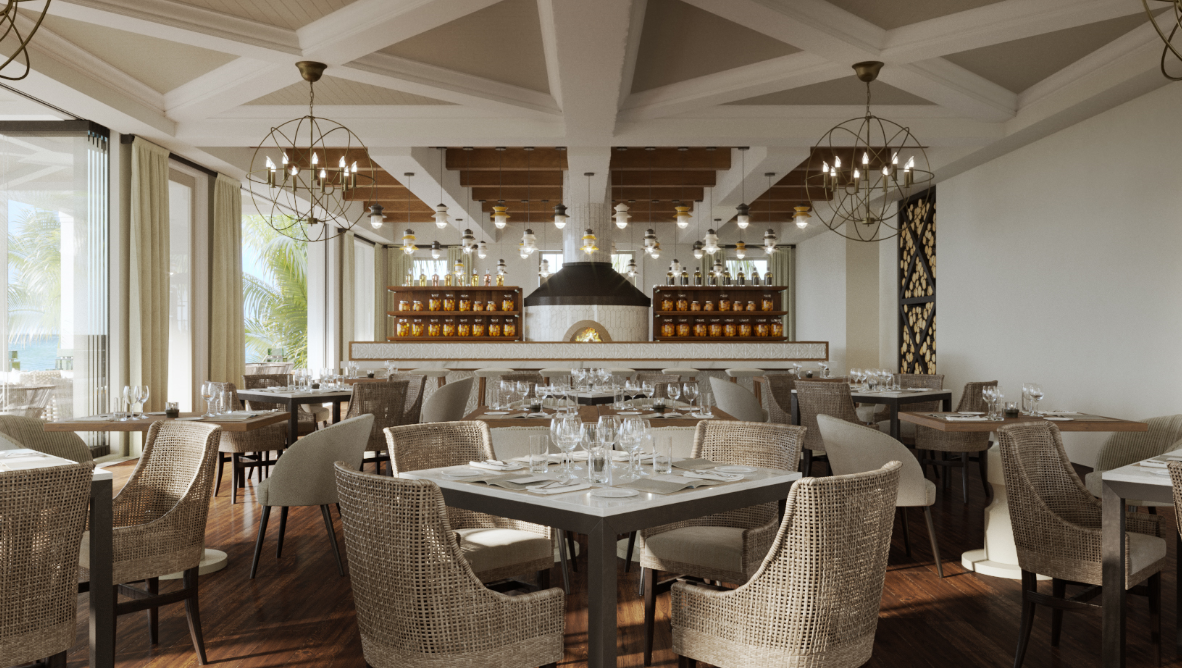 The Bar, Wood Fired Oven and Dining Room of Isla Bella's Il Postino Restaurant