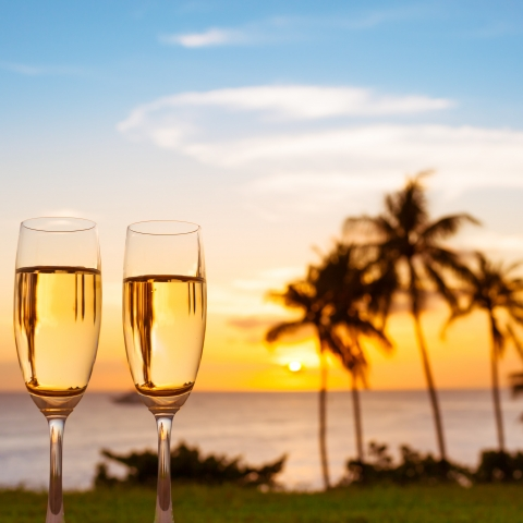 Champagne over sunset